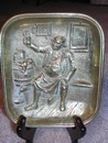 Vintage Brass Pipe Tray-Tavern Scene (Germany)