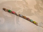 Sarah Coventry Brushed Silver tone Multicolor Cabochon Bracelet
