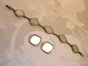 Hoffman Mother of Pearl Bracelet and Earrings Vintage