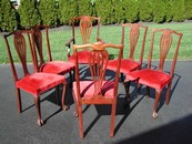 Chippendale Style Mahogany & Red Velvet Chairs