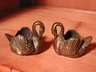 Little Vintage English Brass Swan Candlestick Holders