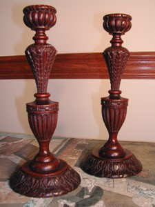 Rare Hand Carved 19th c. Treen Candlesticks - England