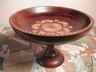 Vintage English Oak Pedestal Carved Fruit Bowl