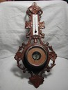 Hand Carved French Thermometer & Barometer c.1890-1900