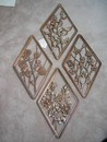 A Set of Syroco Wood Four Season Gold Plaques Vintage