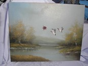 "Old ""Geese in the Wild"" Oil Painting"