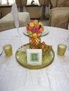 French Country Gold & Rose Jewel Lighted Centerpiece