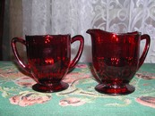 Fantastic Vintage New Martinsville Footed Ruby Glass Cream & Sug
