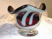 Fantastic Amethyst & White Art Glass Footed Bowl