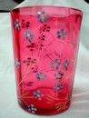A Moser Style Cranberry Glass Enamel Flower Tumbler 1870
