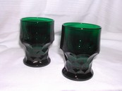 A Pair of Hocking Forest Green Georgian Tumblers Vintage