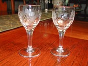 A Pair Salesman Sample Etched Wine Glasses