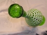 Art Glass Footed Decanter Green Beaded Cameo