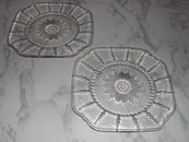 A Pair of Federal Glass Co. Columbia Pattern Square Luncheon Pla