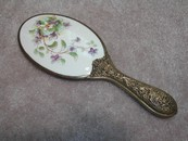 Antique/Vintage Porcelain & Brass Handled Mirror Violets