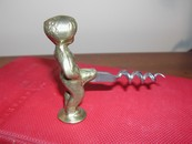 Mannekin Pis Corkscrew Belgium-Vintage Brass- Shaft Moves