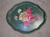 Large Old Hand Painted Toleware Style Floral Tray