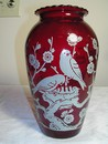Anchor Hocking Royal Ruby Hoover Vase - Birds & Dogwood