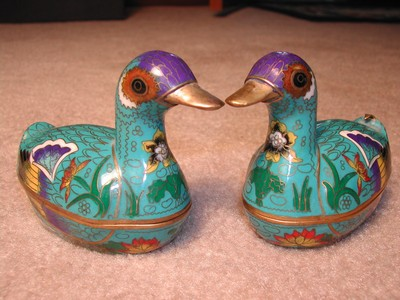 Lovely Cloisonne Duck Trinket Dishes