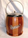 Vintage Two-tone English Wood Biscuit Barrel