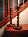 Vintage English Oak Barley Twist Candlesticks