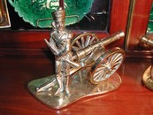 Vintage English Brass Field Gun & Soldier