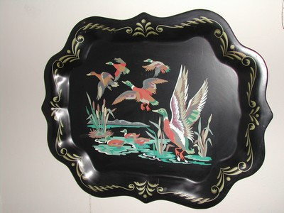 Vintage Gregorian Style Black Toleware Tray Geese