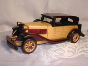 A Hand Made Wood MG Car Model Stained