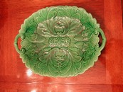 Large English Leaf/Flower Handled Platter