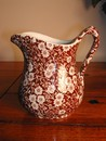 Brown & White Calico Chintz Pitcher Vintage England