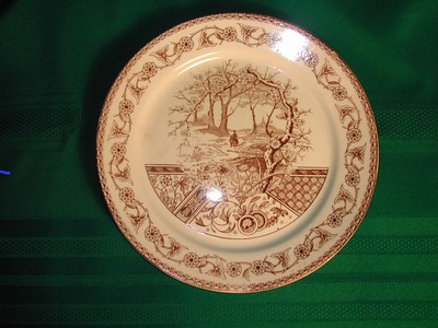 Antique T&R Boote England 1883 Brown &White Transfer ware Plate