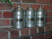Vintage Aluminum Kitchen Canisters (set of 3)