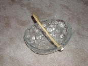 Old Glass Fruit Bowl/Wicker Handle