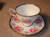 Lovely Royal Stafford English Roses & Brushed Gold Teacup/Saucer