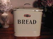 Rare Large Vintage Cream & Black English Enamelware Bread Bin
