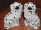 Vintage Staffordshire White & Gold Spaniels