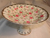Lefton Chintz Roses Comport/Compote Gold Trim