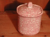 Vintage English Red & White Chintz Biscuit Jar/Lid
