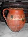 Vintage French Redware Milk Pitcher