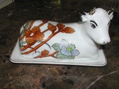 Art Nouveau Fine China Buffalo Pottery Covered Butter Cow
