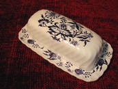 A Lovely Blue Lily Ironstone Butter Dish Staffordshire England