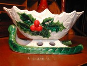 Lefton White Holly Berry Sleigh Dish Vintage