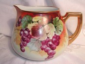 A Fantastic Hand Painted ZS & Co. Bavaria Cider Pitcher Grapes