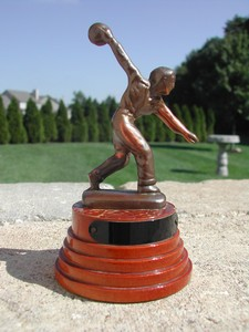 Vintage Copper & Wood Bowling Trophy