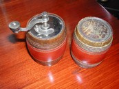 French Wood & Leather Barrel Salt & Pepper Vintage