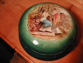 Large & Lovely Ladies Hand Painted Powder Jar