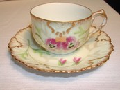 Limoges Hand Painted & Gilded Floral Demitasse Cup/Saucer