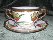 Art Nouveau Limoges Hand Painted Bullion Cup & Saucer Gold Tulip