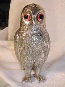 Unique Old Silver Plate Owl Sugar Castor England