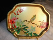 Elegant English Gold Bird & Botanical Tin Tip Tray